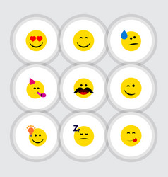 Flat icon face set of cheerful party time vector