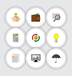 Flat icon finance set of calculate parasol scan vector
