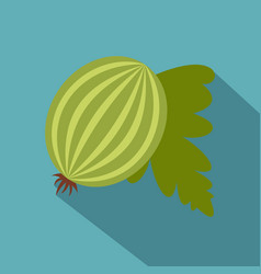 fresh green gooseberry with leaves icon vector image