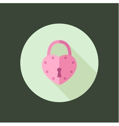 Heart padlock circle icon flat design vector