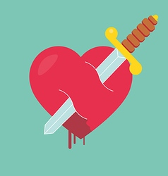 Heart with dagger icon vector