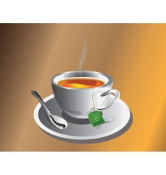 Hot tea cup with silver spoon vector