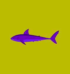 In flat style white shark vector
