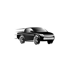 isolated monochrome engraving style pickup trucks vector image