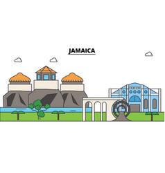 jamaica outline skyline jamaician flat thin line vector image vector image