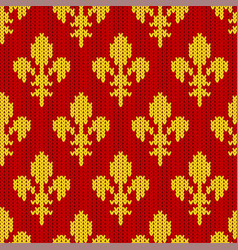 Knitted golden royal lilies on red vector
