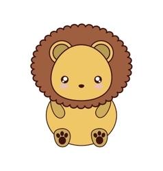 lion kawaii cute animal icon vector image