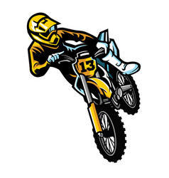 Motocross rider in act vector