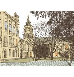 Old building town sketch vector