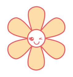 Orange flower kawaii cartoon botanical icon vector