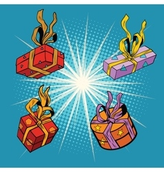 Set boxes with gifts vector image vector image