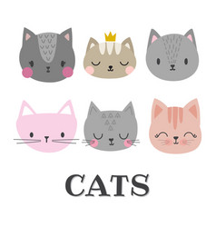 Set of cute cats funny doodle animals kittens in vector