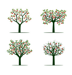 set of green tree with red apples vector image vector image