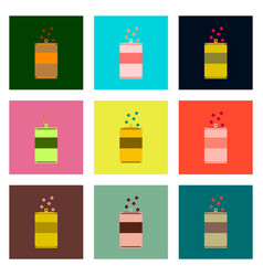 Set pixel icons can of soda vector