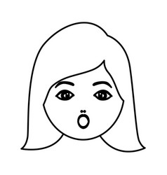Silhouette cartoon human female puzzled face vector