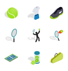 Tennis icons isometric 3d style vector