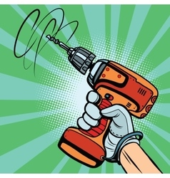Tool electric drill in hand vector