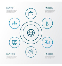 Trade outline icons set collection of vector