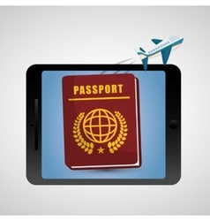 Travel airplane passport tablet technology vector