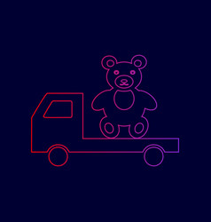 Truck with bear line icon with gradient vector
