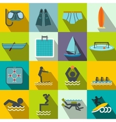 Water sport flat icons vector