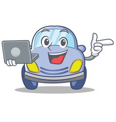 with laptop cute car character cartoon vector image vector image