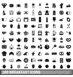 100 breakfast icons set in simple style vector