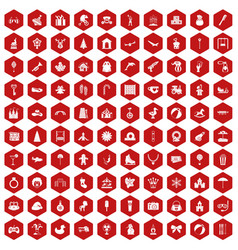 100 happy childhood icons hexagon red vector