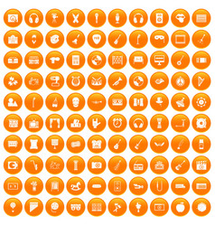 100 musical education icons set orange vector