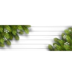 Wooden background with fir branches vector