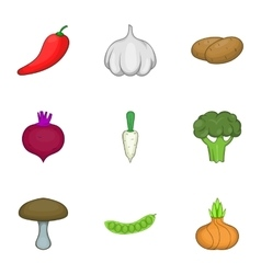 Vegetable culture icons set cartoon style vector