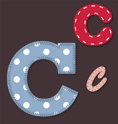 Set of stitched font - Letter C vector image