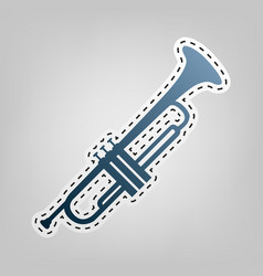 musical instrument trumpet sign  blue icon vector image