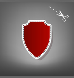 Shield sign   red icon with vector