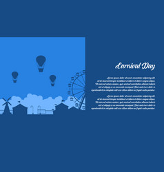 Background of amusement park scenery silhouette vector