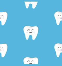 Pattern seamless tooth health cute funny cartoon vector