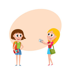 Two girls women tourists travelling together one vector