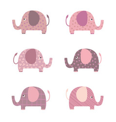 Elephants cartoon set vector