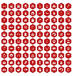 100 happy childhood icons hexagon red vector