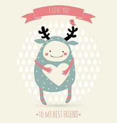 Cute romantic cartoon card with lovely monster vector