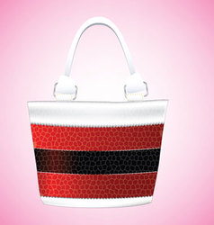 Leather striped shoulder bag for women vector