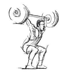 Hand sketch weightlifter vector
