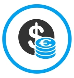 Euro and dollar coins rounded icon vector