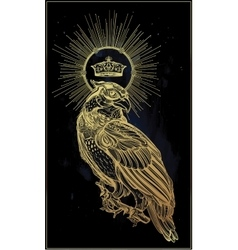 Detailed hand drawn bird of prey with a crown vector