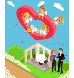Valentines day 3d isometric angels with bow vector