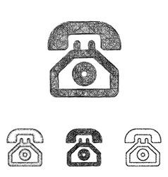 Telephone icon set - sketch line art vector