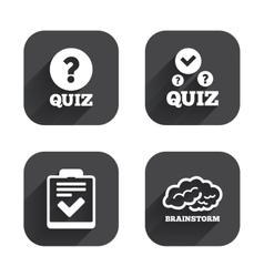 Quiz icons checklist and human brain symbols vector