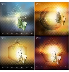 Abstract 3D pyramids abstract hexagonal patterns vector image