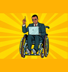 african businessman in wheelchair with laptop vector image vector image
