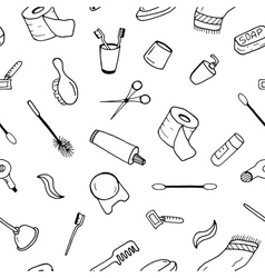 Bath accessories seamless pattern in doodle style vector